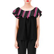 Everyday Women's Off Shoulder Ruffle Blouse | XXL / Stripes / Black/Pink/Grey | Blouse | JacksonsRunaway