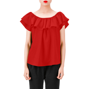 Everyday Women's Off Shoulder Ruffle Blouse | XXL / Solid / Red | Blouse | JacksonsRunaway