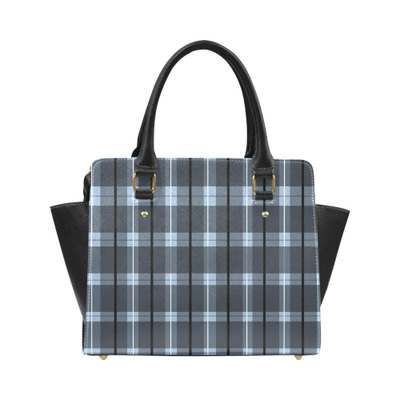 "Blue Plaid Dreams Classic Shoulder Handbag | 11.22""(L) x 4.72""(W) x 9.84""(H) / Blue 