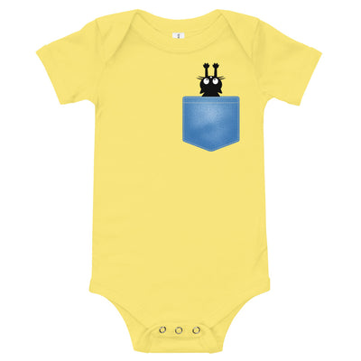 Cat in the Pocket Baby Bodysuit | Yellow / 18-24m | Baby Bodysuit | JacksonsRunaway
