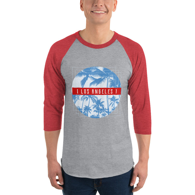 Los Angeles Men's Raglan Shirt | Heather Grey/Heather Red / 2XL | T-shirt | JacksonsRunaway