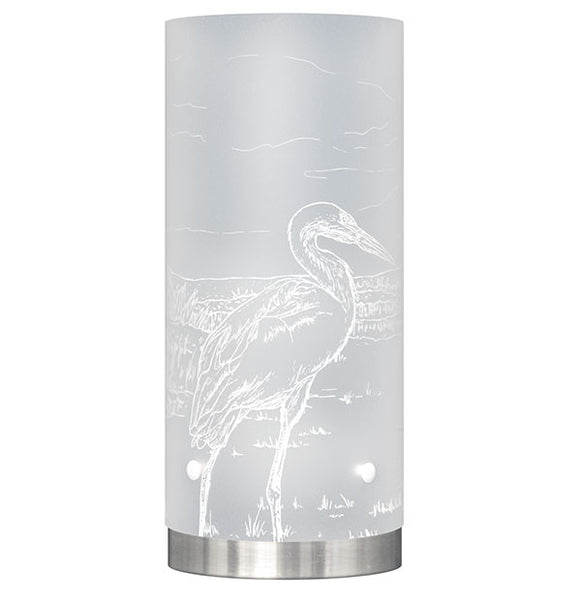Medium Kōtuku, White Heron Table Lamp, White Silhouette