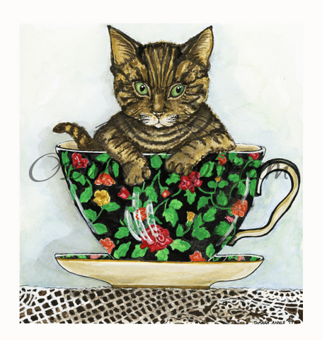 Cat Art- Cute kitten sitting in a colourful teacup