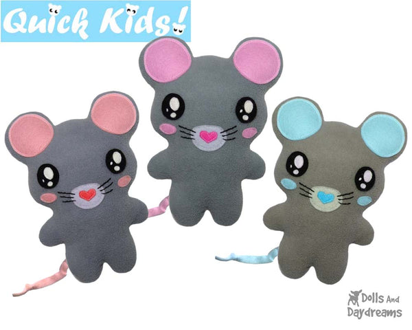 Quick Kids Mouse Sewing Pattern b y Dolls And Daydreams