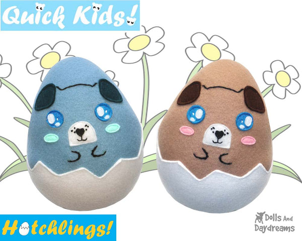 Quick Kids Puppy Dog Hatchling Easter Egg Softie Sewing Pattern Plush Toy by Dolls And Daydreams