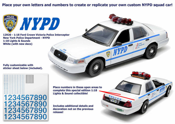 1/18 Scale NYPD Ford Crown Victoria Interceptor with Lights and Sound Diecast Model