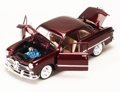 1/24 Scale 1949 Burgundy Ford Coupe Hard Top Diecast Model