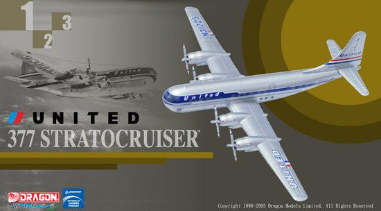 United Airlines Boeing 377 Stratocruiser 1/400 Model w/ Stand & Gears