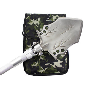 Tactical Shovel close up on head laying on camo bag