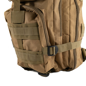 Tan Tactical Backpack close up on MOLLE system