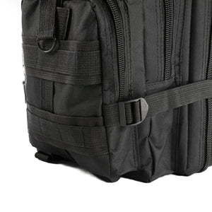 Black Tactical Backpack close up on MOLLE system