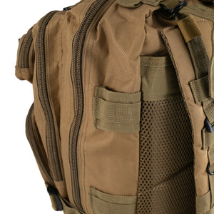 Tan Tactical Backpack close up on side pockets