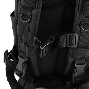 Black Tactical Backpack close up on clasps
