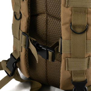 Tan Tactical Backpack close up on clasps
