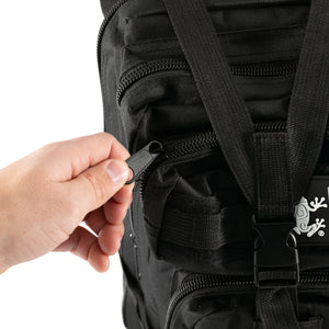 Black Tactical Backpack close up man opening zipper