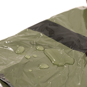 green bivy with water drops