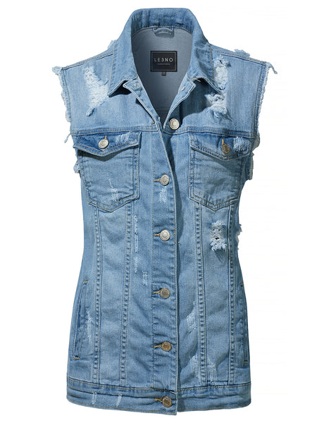 Oversized Distressed Ripped Sleeveless Denim Vest with Pockets