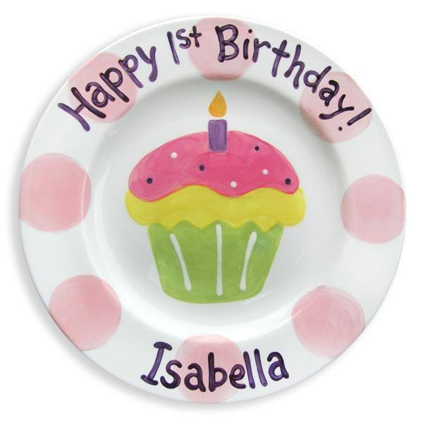 1st Birthday Cupcake Girls Hand-Painted Ceramic Plate
