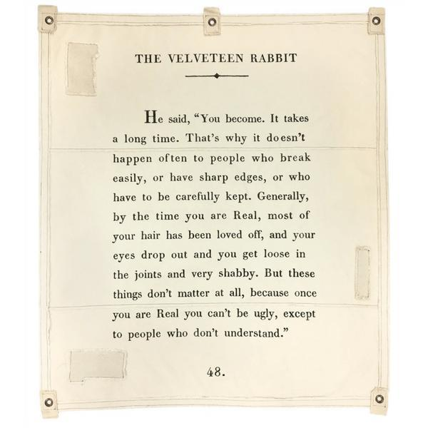 Wall Tarp - Quote from The Velveteen Rabbit Wall Hanging