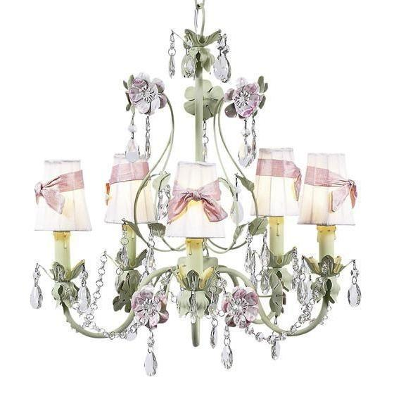 Chandelier - 5-Arm - Flower Garden - Pink & Green w/ Sconce Shade - Plain - White w/ Pink sash-Chandeliers-Default-Jack and Jill Boutique