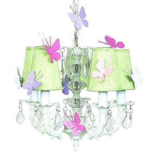Chandelier - 5-arm Stacked Glass Ball - White w/ Sconce Shade - Plain - Green w/magnets-Chandeliers-Default-Jack and Jill Boutique