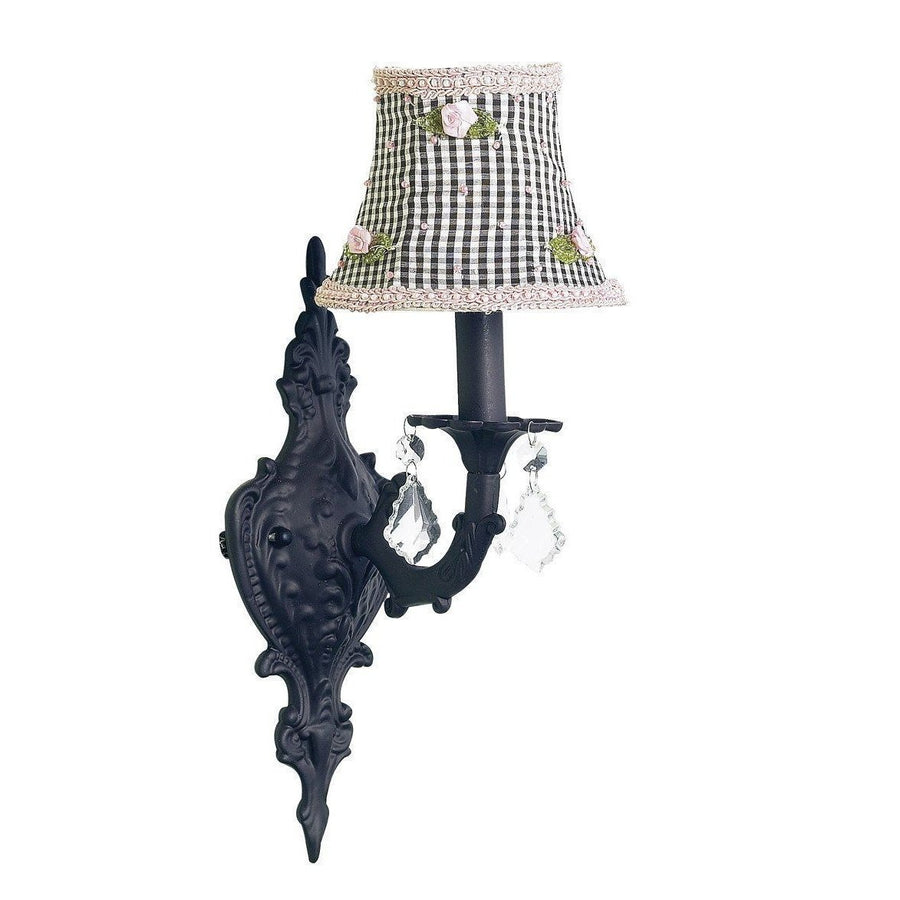Black Scroll Wall Sconce with Black Check & Pink Rosebud Shade