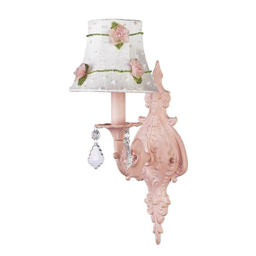 Chandelier Shade - Pink Net Flower - White on Wall sconce - 1-arm - Scroll - Pink-Wall Sconce-Default-Jack and Jill Boutique