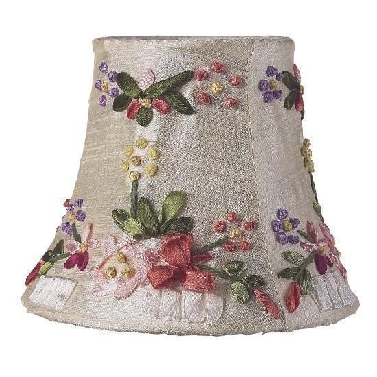 Chandelier Shade - Ribbon Embroidery - Ivory-Chandelier Shades-Default-Jack and Jill Boutique