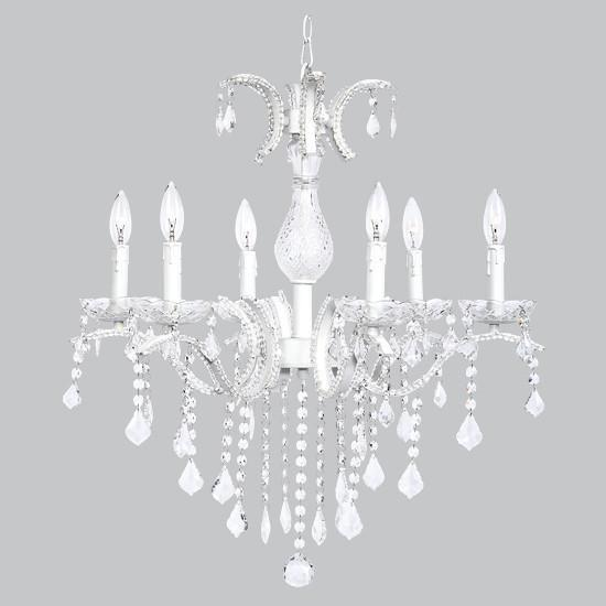 Glitz Chandelier - 6 Light - Beaded with Glass Center - White-Chandeliers-Default-Jack and Jill Boutique