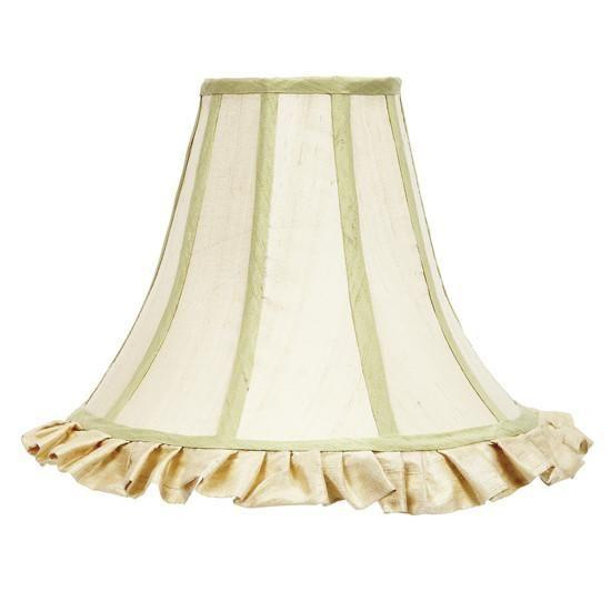 Large Shade - Ruffled Bell Shape - Ivory with Sage Green Trim