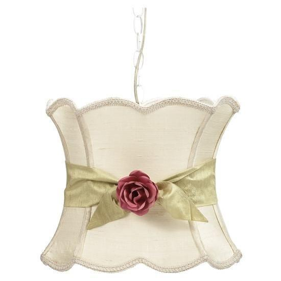 Pendant Light with Ivory XL Hourglass Shade, Green Sash and Pink Rose Magnet