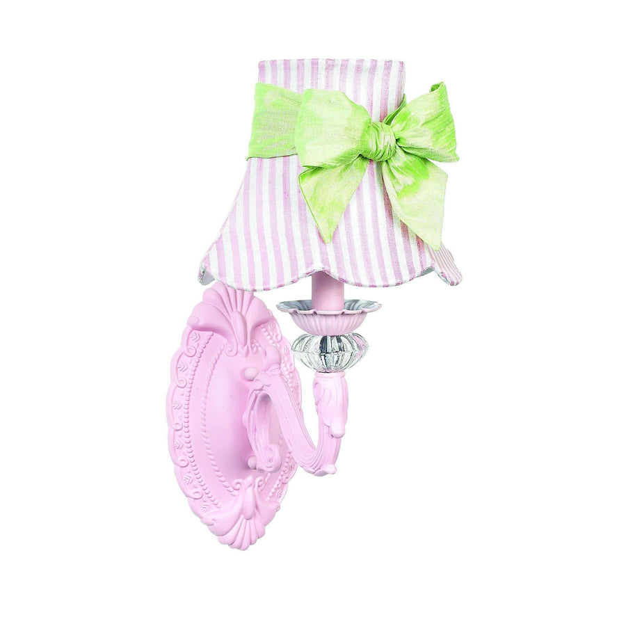Shade - SM -Squash Scallop - Pink Stripe w/sash on Wall sconce - 1-arm - Turret - Pink-Wall Sconce-Default-Jack and Jill Boutique