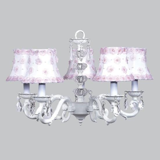 Turret White Five-Light Chandelier with White and Pink Petal Shades-Chandeliers-Default-Jack and Jill Boutique