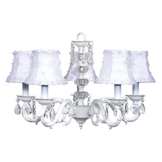 Turret White Five-Light Chandelier with White Petal Shades-Chandeliers-Default-Jack and Jill Boutique