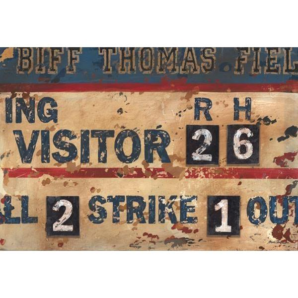 Vintage Navy & Cream Baseball Scoreboard | Sports Art Collection | Canvas Art Prints