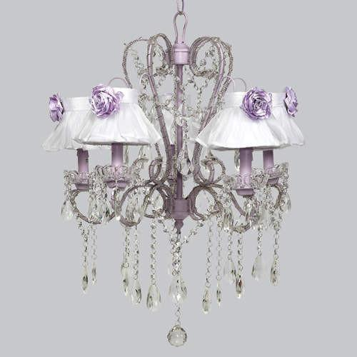 Whimsical Lavender Five Light Chandelier with Lav Rose Magnet-Chandeliers-Default-Jack and Jill Boutique