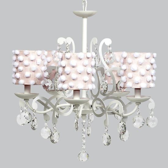 White 5 Light Elegance Chandelier with Pink Drum Shades and White Pom Poms-Chandeliers-Default-Jack and Jill Boutique