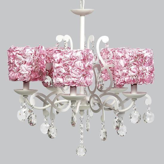 White 5 Light Elegance Chandelier with Pink Rose Garden Shades-Chandeliers-Default-Jack and Jill Boutique