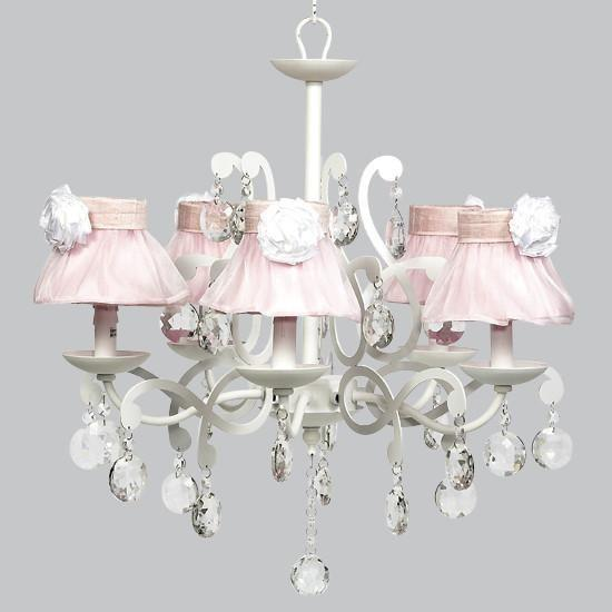 White 5 Light Elegance Chandelier with Pink Sheer Skirt Shades and White Roses-Chandeliers-Default-Jack and Jill Boutique