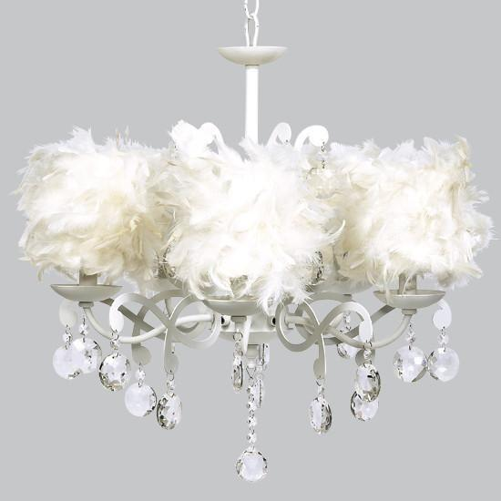 White 5 Light Elegance Chandelier with White Feather Dum Shades-Chandeliers-Default-Jack and Jill Boutique