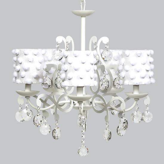 White 5 Light Elegance Chandelier with White Pom Pom Drum Shades-Chandeliers-Default-Jack and Jill Boutique