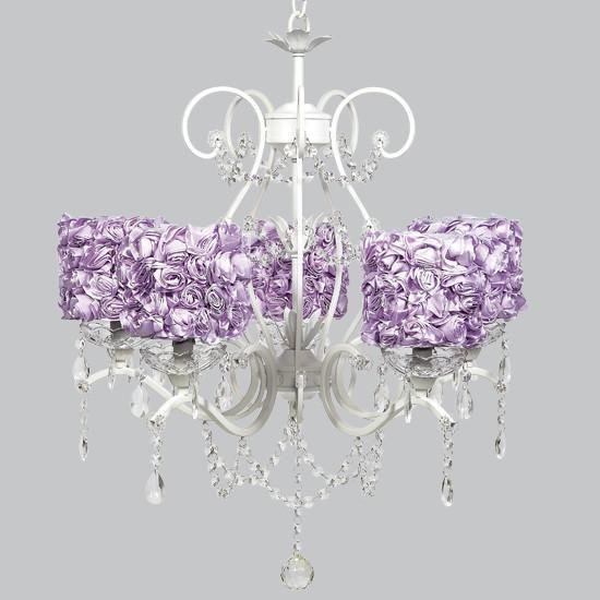 White 5 Light Grace Chandelier with Lavender Rose Garden Drum Shades-Chandeliers-Default-Jack and Jill Boutique