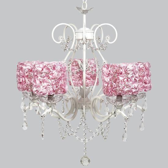 White 5 Light Grace Chandelier with Pink Rose Garden Drum Shades-Chandeliers-Default-Jack and Jill Boutique