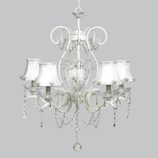 White 5 Light Grace Chandelier with White Pearl Burst Shades-Chandeliers-Default-Jack and Jill Boutique