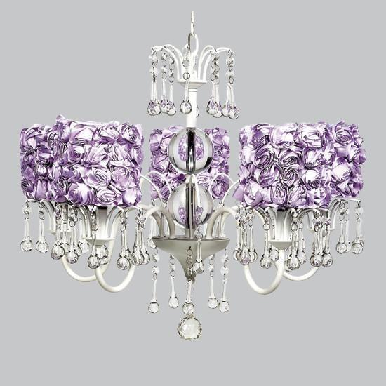 White 5 Light Wistful Chandelier with Lavender Rose Garden Drum Shades-Chandeliers-Default-Jack and Jill Boutique