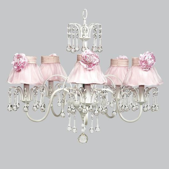 White 5 Light Wistful Chandelier with Pink Ruffled Sheer Skirt & Pink Rose Magnet-Chandeliers-Default-Jack and Jill Boutique