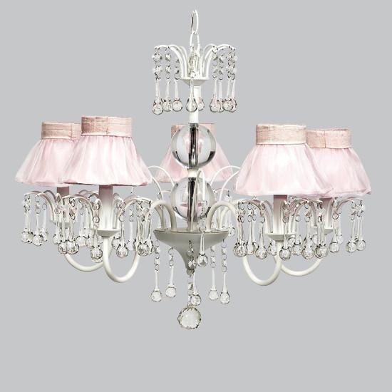 White 5 Light Wistful Chandelier with Pink Ruffled Sheer Skirt Shades-Chandeliers-Default-Jack and Jill Boutique