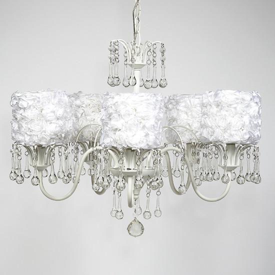 White 5 Light Wistful Chandelier with White Rose Garden Drum Shades-Chandeliers-Default-Jack and Jill Boutique