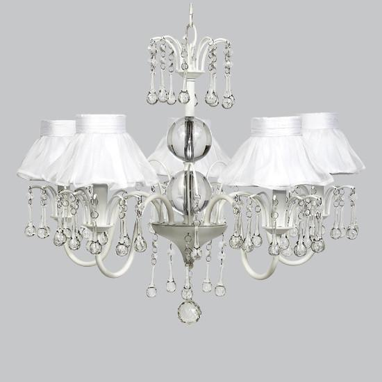 White 5 Light Wistful Chandelier with White Ruffled Sheer Skirt Shades-Chandeliers-Default-Jack and Jill Boutique