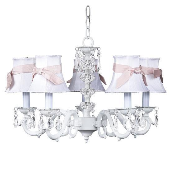 White Turret 5 Light Chandelier with White Chandelier Shades and Pink Chandelier Sash-Chandeliers-Default-Jack and Jill Boutique